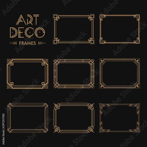 Set of Art deco borders and frames Wallpaper Mural