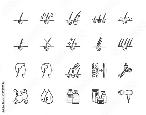 Fotomural Hair loss treatment flat line icons set