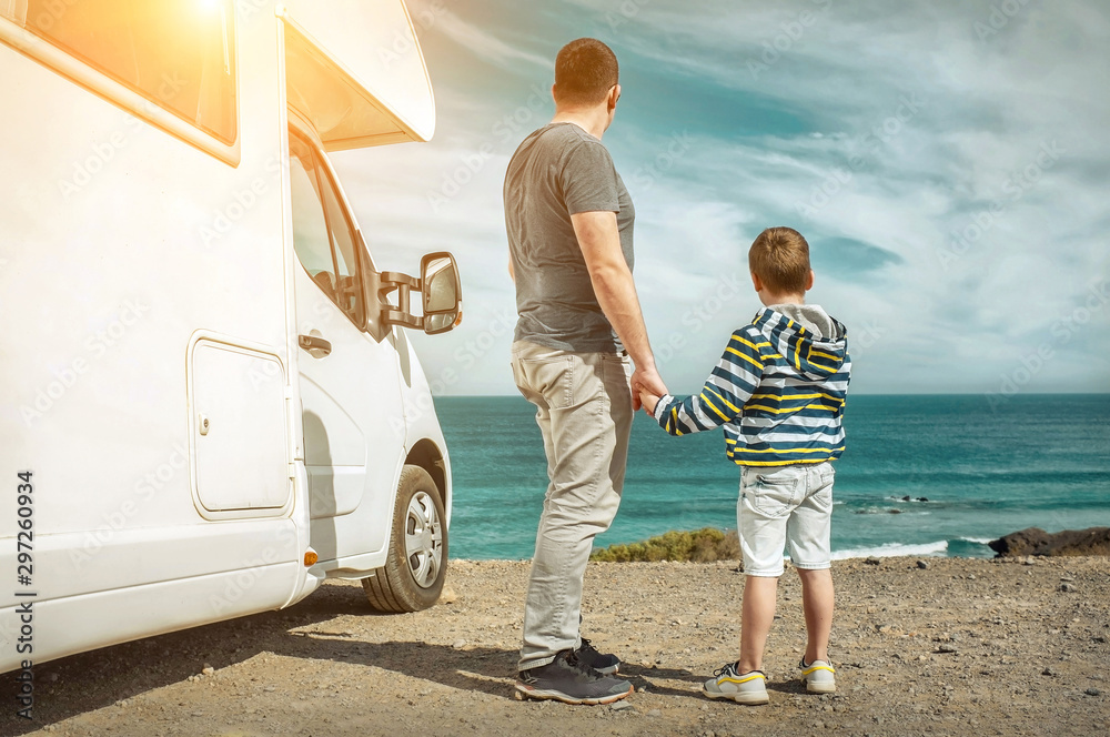 Fototapety, obrazy: Happiness father and son, stay near them white travel car and lo