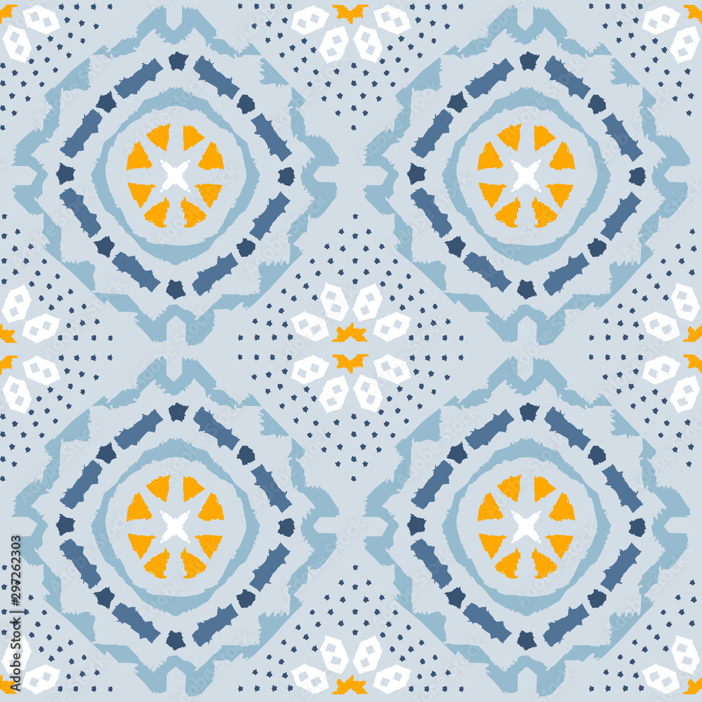 Geometric folk seamless vector pattern with ikat ethnic print of striped ornament