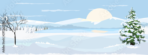 Beautiful horizontal Winter Landscape with mountain fir tree and bare tree with snow. Flat and solid color vector illustration.