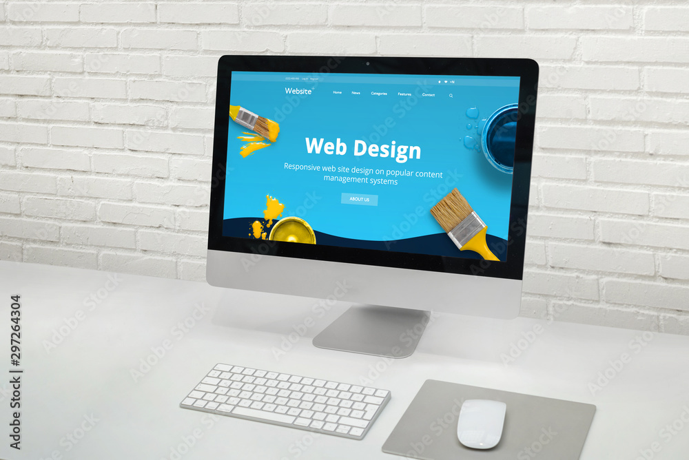 Fototapety, obrazy: Web design studio concept with modern computer display with web design web site theme concept.
