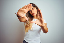 Young Beautiful Woman Wearing Casual White T-shirt Over Isolated Background Doing Frame Using Hands Palms And Fingers, Camera Perspective