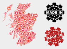 Mosaic Gear Scotland Map And Textured Stamp. Vector Geographic Abstraction In Red Colors. Mosaic Of Scotland Map Composed From Random Gear Items. Red Colored Model For Technical, Or Political Posters.