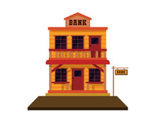 Detailed Old Western Bank Illustration