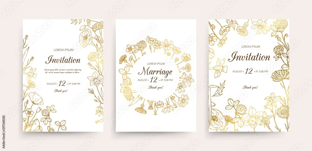 Fototapety, obrazy: Wedding invitation cards. Floral wedding flyers with wildflowers. Hand drawn gold flowers vintage invitations template. Wedding invitation card, illustration botanical flyer