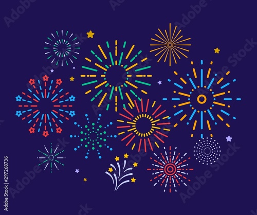 Obraz Colorful fireworks. Festive christmas pyrotechnics firecrackers. Xmas winter party festival salutes vector background. Illustration colorful firecracker to christmas carnival, sparkle festival - fototapety do salonu