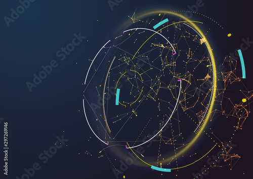 Fotomural  Abstract techno background. Futuristic abstract high-tech design.