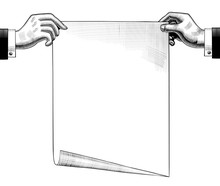 Concept Business Plan. Vintage Drawing Of Two Hands With A Paper Sheet.