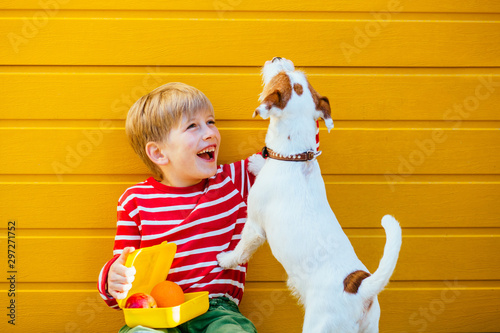 Cute blond school age boy with lunch box feeding treats to his hungry puppy dog Jack Russell Terrier food, that did not eat at school Canvas Print
