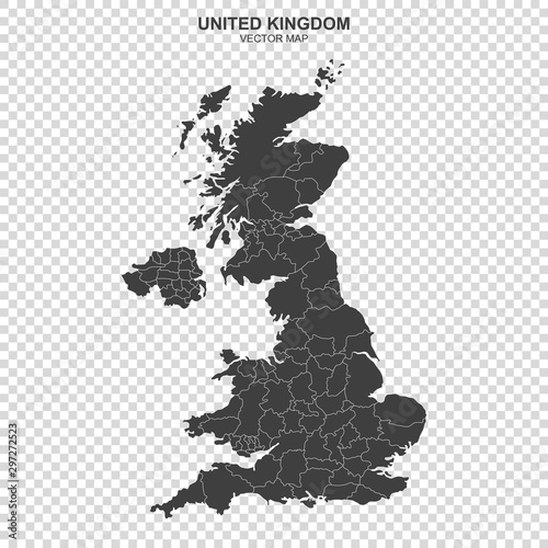 political map of United Kingdom isolated on transparent background Wallpaper Mural