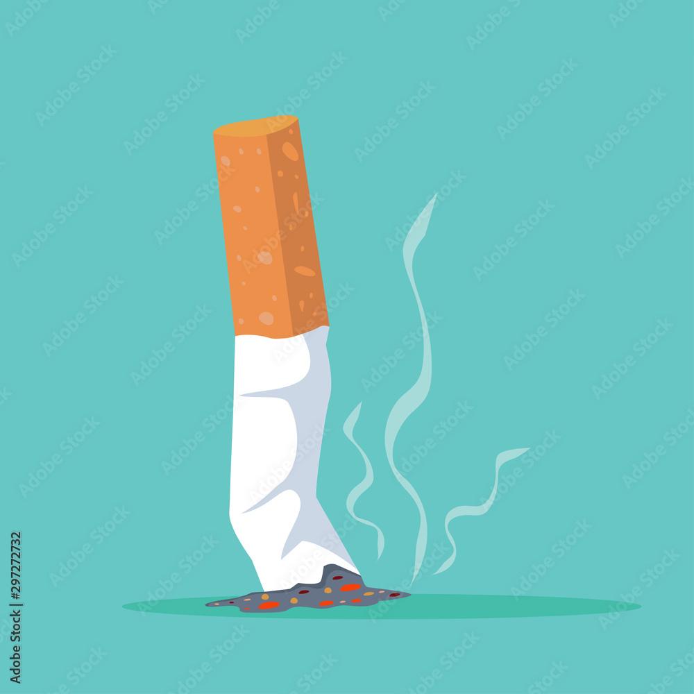 Fototapety, obrazy: Cigarette butt Flat illustration vector