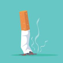 Cigarette Butt Flat Illustrati...
