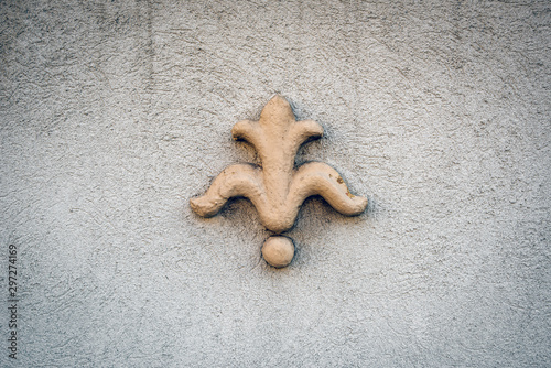 Bas-relief in form of Anjou lily on a rough gray wall Canvas Print