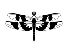 Black Vector Dragonfly Icon Is...