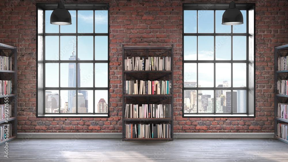 Fototapety, obrazy: Bookshelves,Loft style interior, concrete floor with two big windows