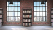 canvas print picture - Bookshelves,Loft style interior, concrete floor with two big windows