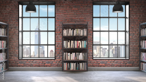 fototapeta na lodówkę Bookshelves,Loft style interior, concrete floor with two big windows