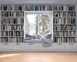 Leinwanddruck Bild - Reading place with wooden floor,bookshelves, white wall