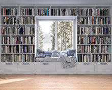 Reading Place With Wooden Floor,bookshelves, White Wall