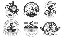 Extreme Freeride Retro Logo Templates Set, Bicycles Extreme Challenge Monochrome Badges Vector Illustration