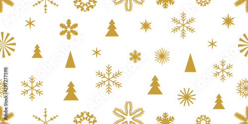 fototapeta na szkło Golden snowflakes and elements with ornaments.