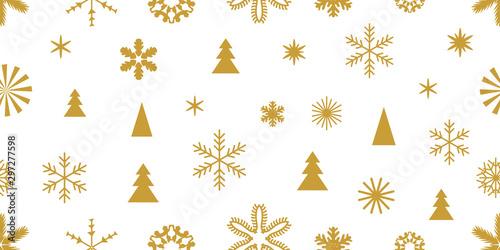 fototapeta na ścianę Golden snowflakes and elements with ornaments.
