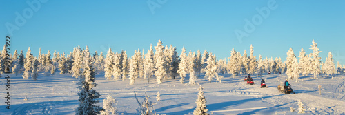 Obraz Group of snowmobiles in Lapland, near Saariselka, panoramic winter background, Finland - fototapety do salonu