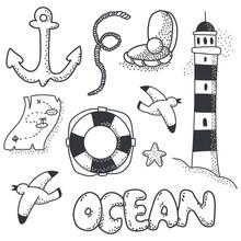 Ocean Doodle Sketch Element Ve...