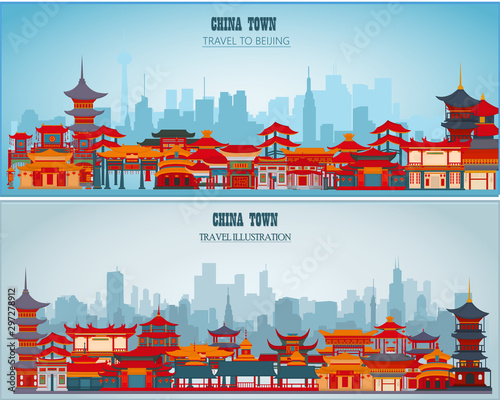 Photo Vector greeting cards with Chinese traditional buildings and gates on a blue background