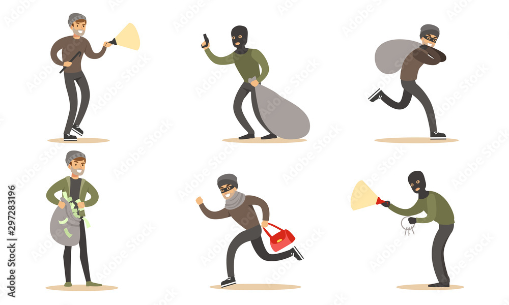 Fototapeta Criminals and Robbers Characters Set, Masked Burglars with Guns in Masks Stealing Money Vector Illustration