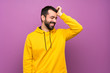 canvas print picture - Handsome man with yellow sweatshirt has realized something and intending the solution
