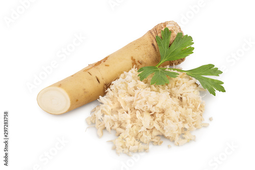Fotografie, Obraz Horseradish root with slices grated pile and parsley isolated on white backgroun
