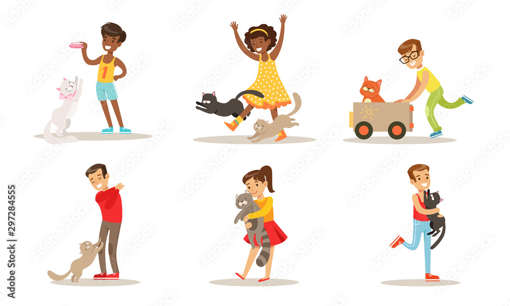 Fototapety, obrazy: Cute Kids Playing And Taking Care of Cats Set, Adorable Boys and Girls Having Fun with Their Pets Vector Illustration