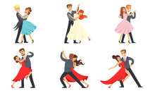 Dancing Couples Set, Professional Dancers Performing Tango, Waltz And Other Dances Vector Illustration