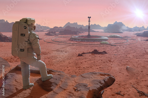 Wall Murals Light pink astronaut on planet Mars, looking at a base in the desert landscape