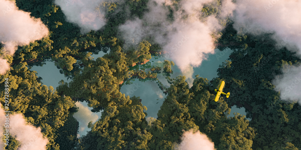 Fototapeta Sustainable habitat world concept. Distant aerial view of a dense rainforest vegetation with lakes in a shape of world continents, clouds and one small yellow airplane. 3d rendering.