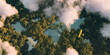 canvas print picture - Sustainable habitat world concept. Distant aerial view of a dense rainforest vegetation with lakes in a shape of world continents, clouds and one small yellow airplane. 3d rendering.