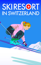 Poster For Ski Resort In Switzerland. Cartoon Style Girl Character In Mountain. Vector Illustration.