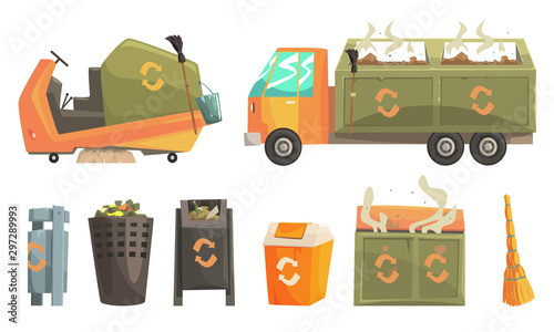 Fototapety, obrazy: Carbage Truck and Bins with Decaying Waste, Ecology and Recycling Concept Vector Illustration