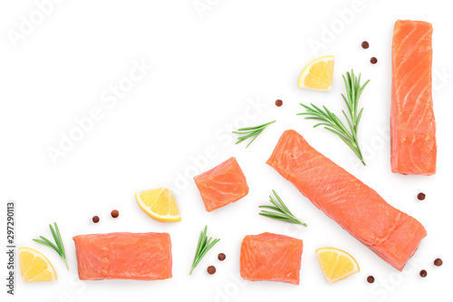 Leinwand Poster Slice of salmon with rosemary and lemon isolated on white