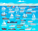 Ship in sea. Sailing boats and passenger cruise ship travel in ocean cargo submarine and yacht vector background cartoon. Transport boat and tanker, shipping transportation raid sea illustration
