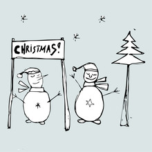 Two Snowmen Celebrate Christma...