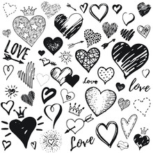 Heart Icon Set, Hand Drawn Doodle Sketch Style. Handdrawn Illustration By Brush, Pen, Ink. Cute Crown, Arrow, Stars Symbols. Vector Drawing For Valentine Day Design, Logo, Card, Print, Textil More