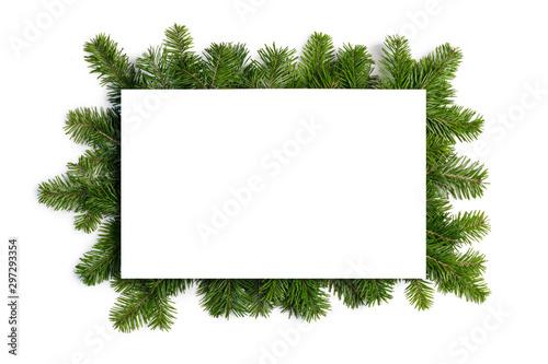 Fototapeta Fir tree branch frame on white obraz