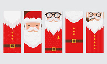 Vector Merry Christmas And Happy New Year Greeting Card Set With Cute Santa Claus