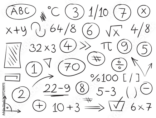 Fotomural  hand drawn mathematical symbols and numbers
