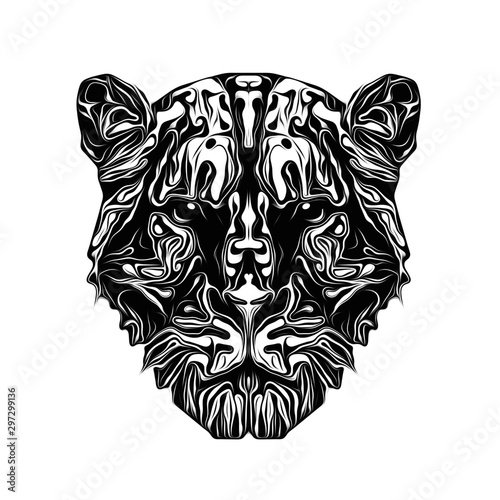 Abstract creative illustration with colorful tiger