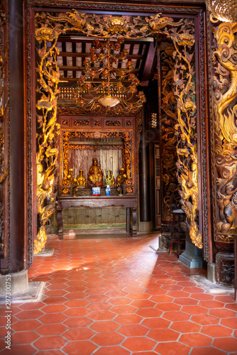 Vinh Trang pagoda near My Tho city, which attracts the spiritual culture of the Canvas Print