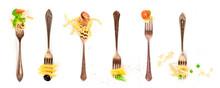 Italian Food Collage. Pasta De...